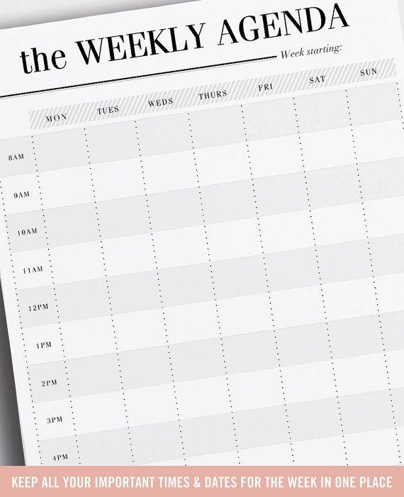 Best 25+ Weekly agenda ideas on Pinterest Agenda printable - weekly agenda