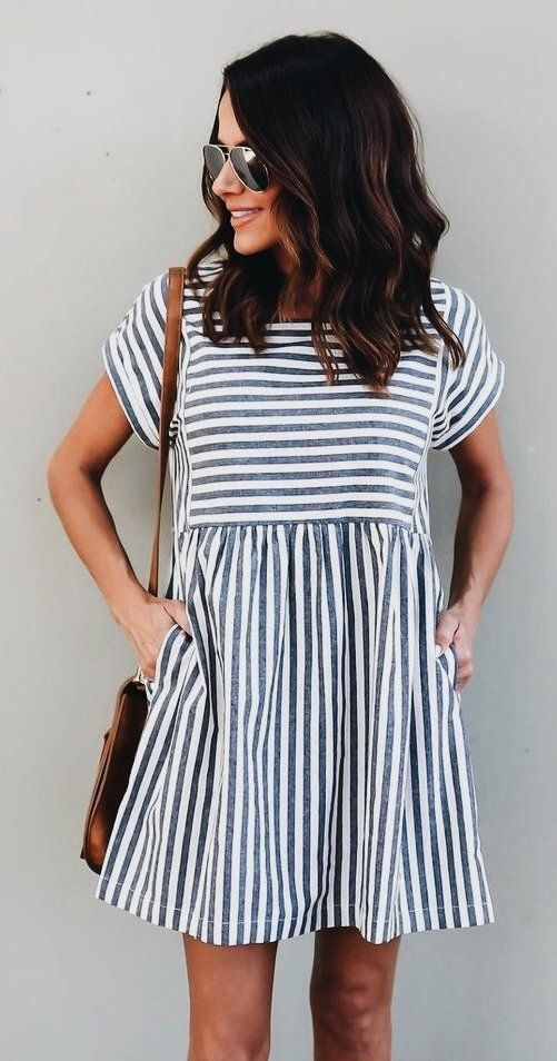 #fall #outfits women's black and white stripe short-sleeved mini dress