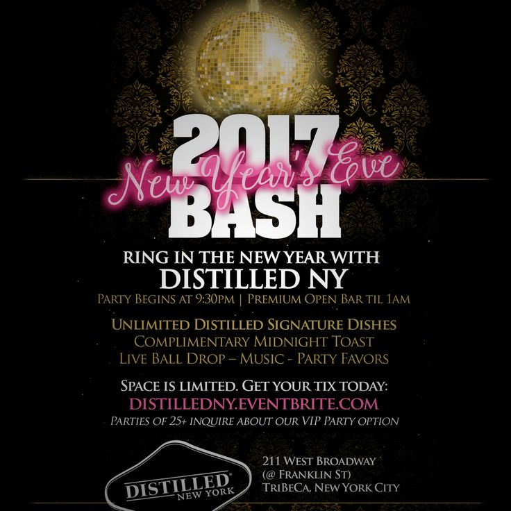 Ring in NYE at Distilled in New York City - http://nyenyc.party/2016/12/04/ring-in-nye-at-distilled-in-new-york-city/