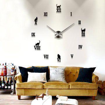 Diy Large Wall Clock 3D Cute Cat Mirror Sticker