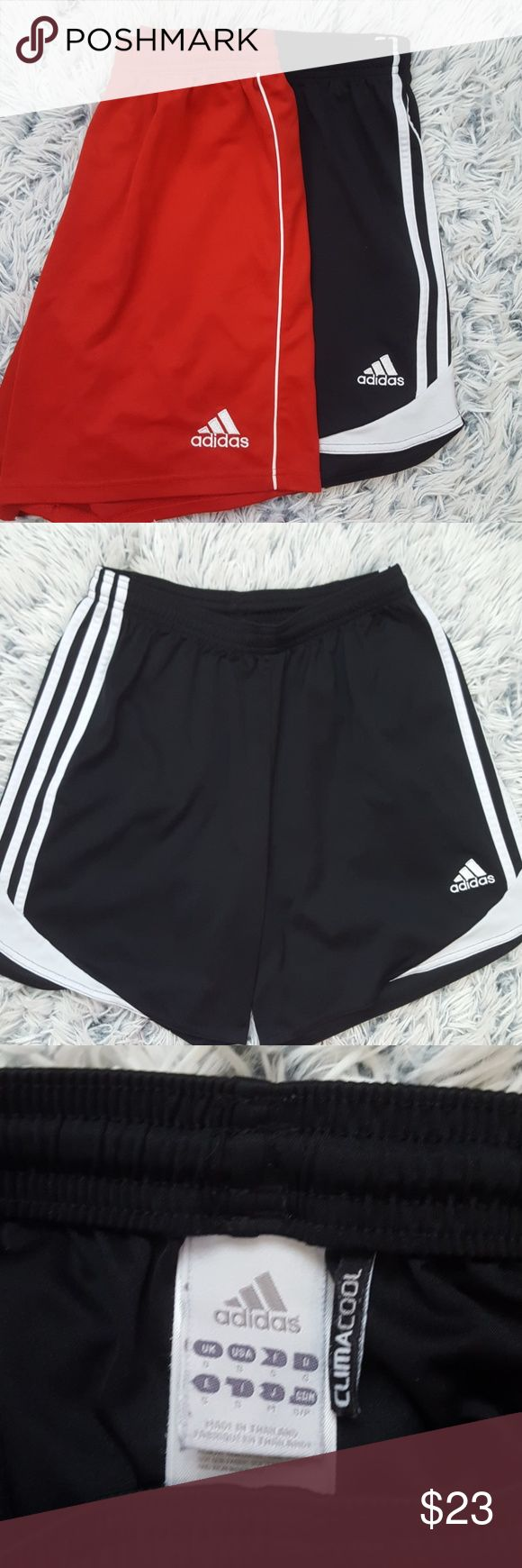 2 Adidas Soccer Shorts Bundle of - black climacool adidas shorts size Small -red climacool adidas shorts size XL in youth fits like women's  Small   Perfect for soccer or working out! Great condition! adidas Shorts