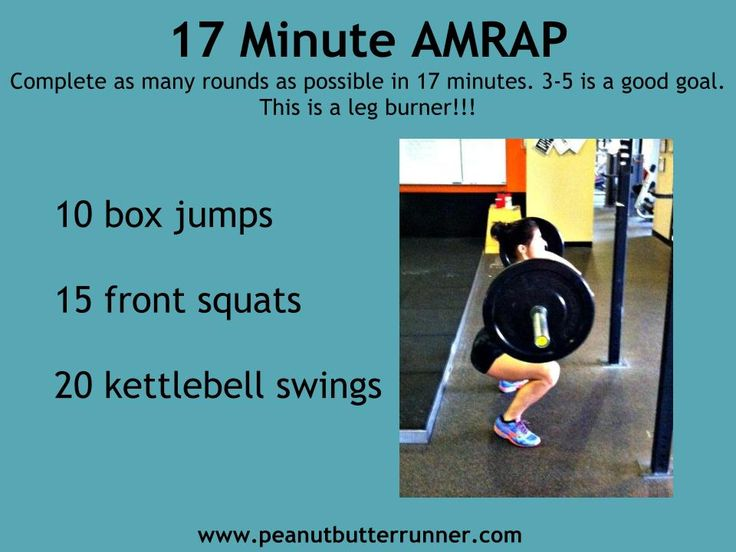 17 min AMRAP: 10 box jumps, 15 front squats, 20 KB swings