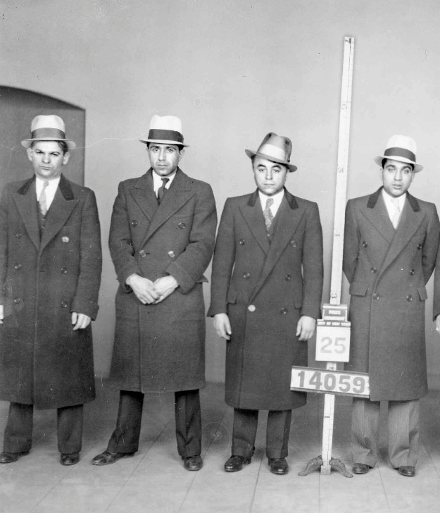 """Murder Inc. Group NYPD photo taken in 1933. From left to right: Martin """"Buggsy"""" Goldstein (alias Al Goodman), Emilio Corrigano, Nathan """"Nat"""" Katzman, and Harry """"Happy"""" Maione  From: New York City Gangland by Arthur Nash"""