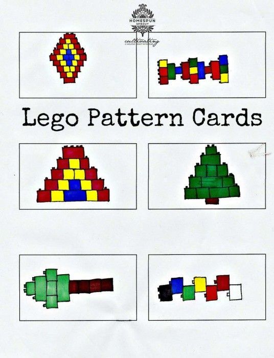 Lego Pattern Cards - Kids will love copying these Lego patterns! Great learning activity - Homespun Sprout