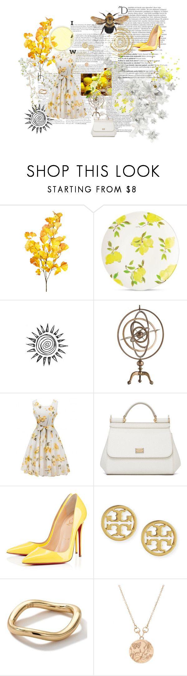 """Lemon"" by huntress-383 ❤ liked on Polyvore featuring Balmain, Kate Spade, Arteriors, Dolce&Gabbana, Christian Louboutin, Tory Burch, Ippolita and Gucci"