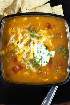 Weight Watchers Skinny Chicken Enchilada Slow Cooker Soup Recipe - 5 Smart Points
