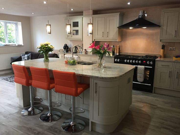 Ivory fantasy granite and Somerton sage kitchen