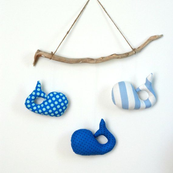 Nautical Decor Whale Mobile for Kids and by FriendsOfSocktopus, $36.00