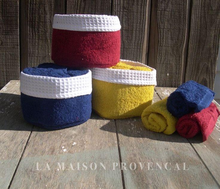 Gästehandtuch Handtuchset Frotteehandtücher mit Körbchen blau rot gelb Shabby