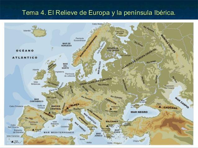 Tema 4 El Relieve De Europa Y La Peninsula Iberica Mapa Fisico