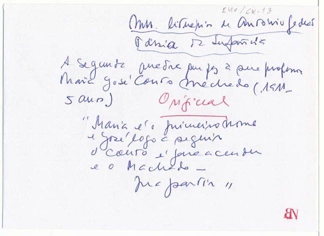 Maria é o 1.º nome :: Rómulo de Carvalho :: Biblioteca Nacional