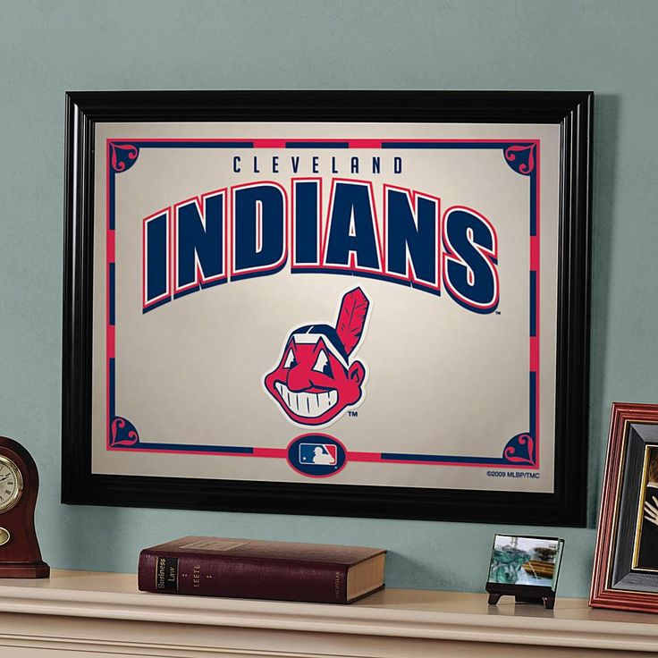 """MEMORY Company MLB Sports Team 23"""" x 18"""" Framed Mirror - Cleveland Indians"""
