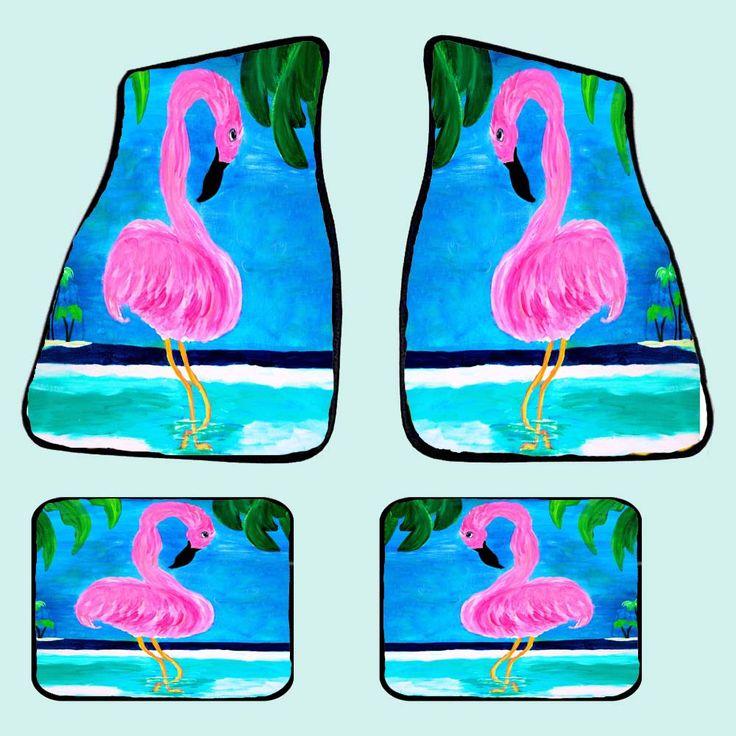 Flamingo island tropical bird art coastal beach floor mats from my art, 20 oz…