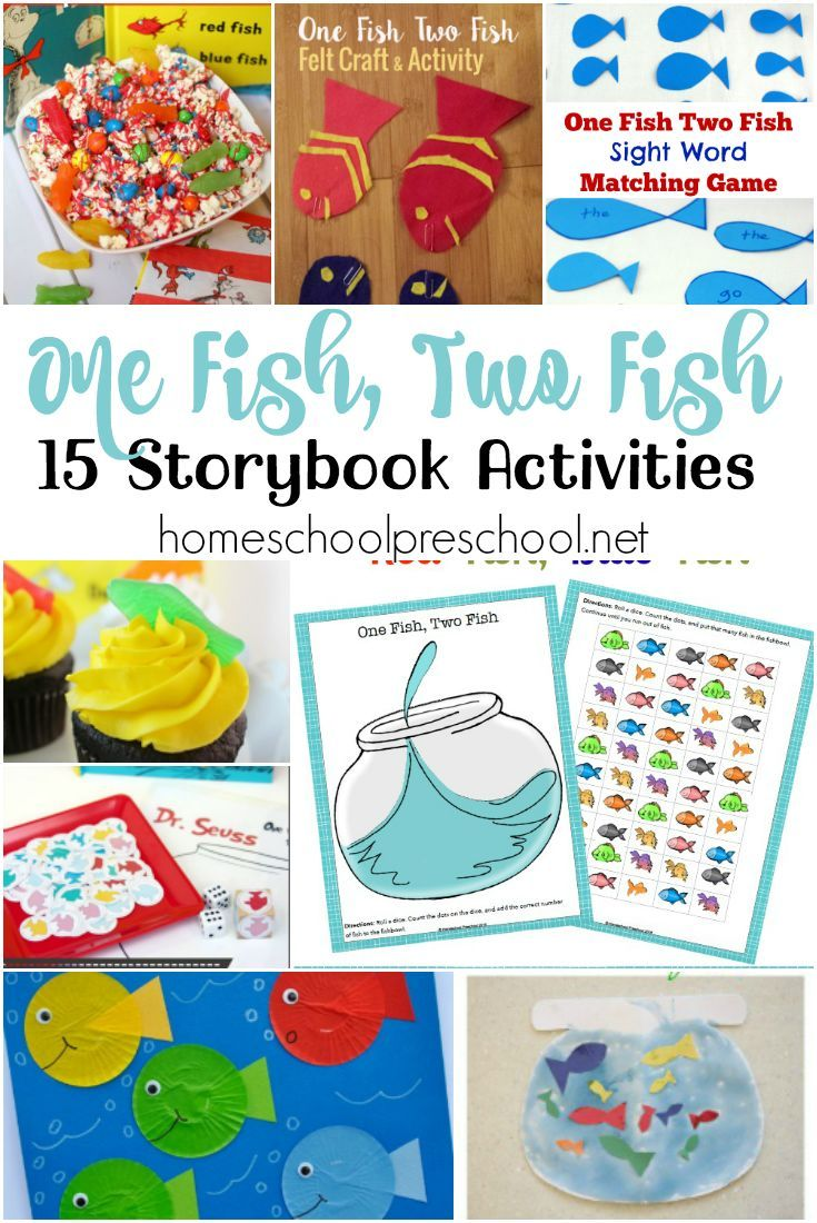Here's a fun {and free} printable and list of hands-on activities to use with your preschoolers when you read One Fish, Two Fish, Red Fish, Blue Fish. | @homeschlprek via @homeschlprek
