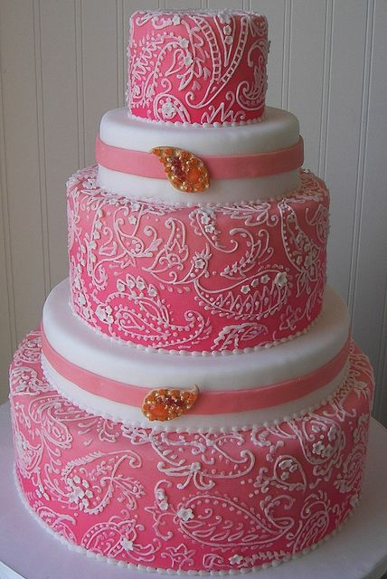 pink paisley wedding cake