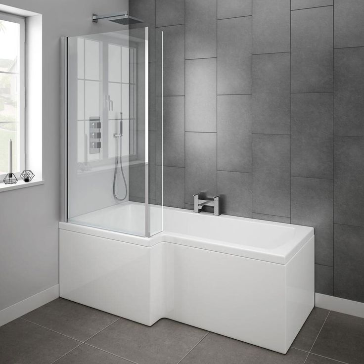 Milan Shower Bath - 1700mm L Shaped with Screen + Panel profile large image view 4