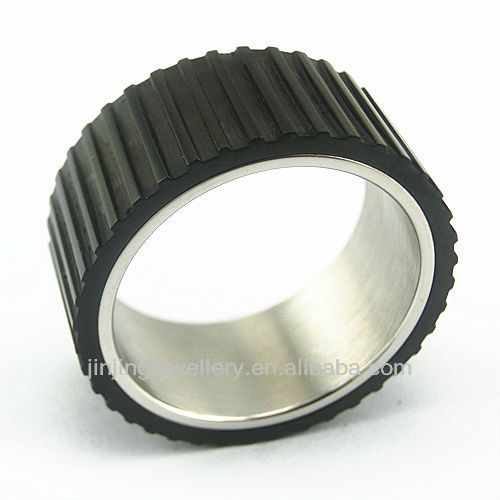 2013 New latest stainless steel thumb rings with black gear $0.9~$3.5