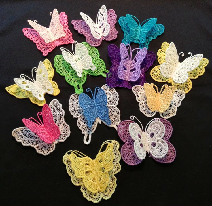 Free Standing Lace Fsl Machine Embroidered Butterflies