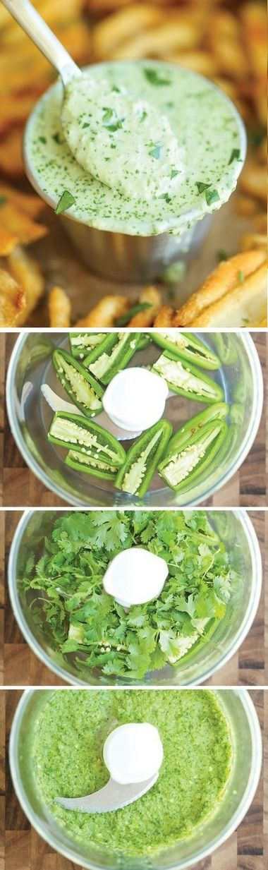 Cilantro Jalapeno Sauce - The easiest 5 min sauce ever. And you can use this on anything - from grilled meats to fries and even chips for dipping!