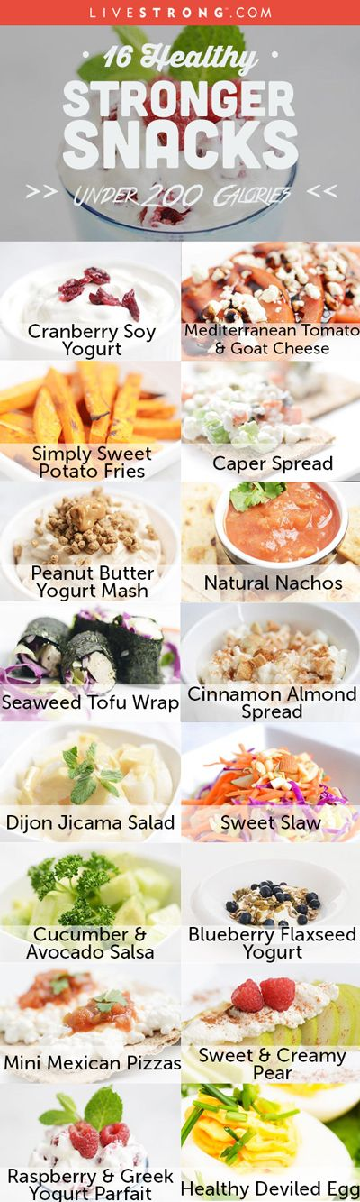 16 delicious low calorie snacks that are incredibly easy-to-make and are included in the meal plans for LIVESTRONG.com's free Stronger eating and exercise program: http://www.livestrong.com/slideshow/1005620-healthy-stronger-snacks-under-200-calories/