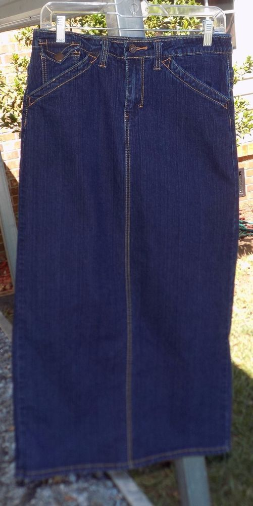 VINTAGE TRAXX Long Jean DENIM Skirt Ladies Size 7/8 SPLIT Back CUTE!!! #TRAXX #StraightPencil