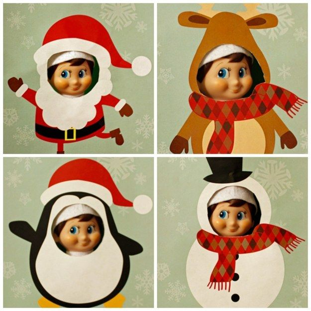 Christmas themed cutouts. | 18 Printables To Seriously Up Your Elf On The Shelf Game
