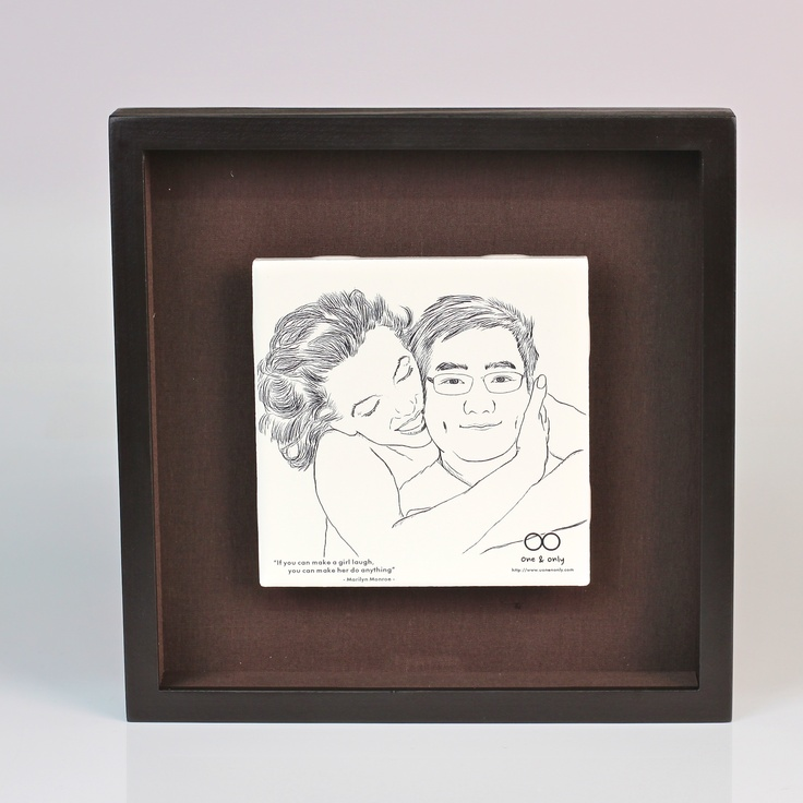 This is another work with my drawing. I used a special tile for Laser engraving. Yes, It's a tile we usually use it in bathroom, restroom...etc, and finally put in the frame like this...wow !! it's good to   see that on my desk...I can be always with my sweetie and make me happy ^^.  absolutely...true...it's awesome^^
