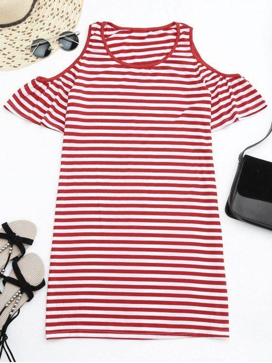 Cold Shoulder Striped T-shirt Dress - RED $14.58  http://www.zaful.com/cold-shoulder-striped-t-shirt-dress-p_282431.html?lkid=10786333