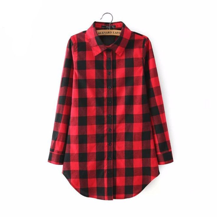 Black And Red Flannel Plaid Shirt Gender: Women Clothing Length: Regular Pattern Type: Plaid Sleeve Style: Regular Style: Casual Fabric Type: Woven Material: Cotton Collar: O-Neck Sleeve Length: Full