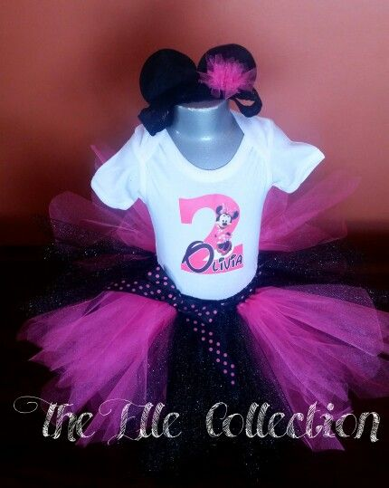 Minnie mouse pink and black with polka dot accents tutu skirt and personalized shirt with matching mouse ears headband by the Elle Collection in South Africa.  To order email Karin on theellecollection13@gmail.com