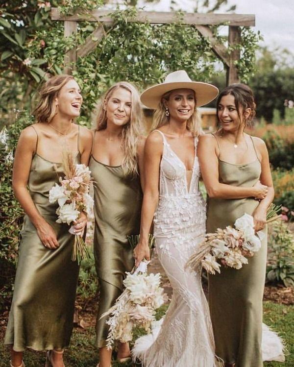 Green Bridesmaid Dresses Silk
