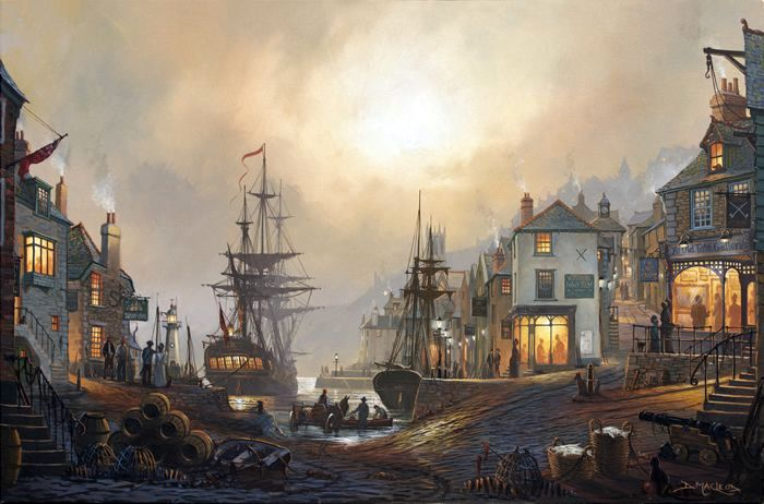 Maritime art by St Ives artist Donald MacLeod. Old Cornish Harbours.