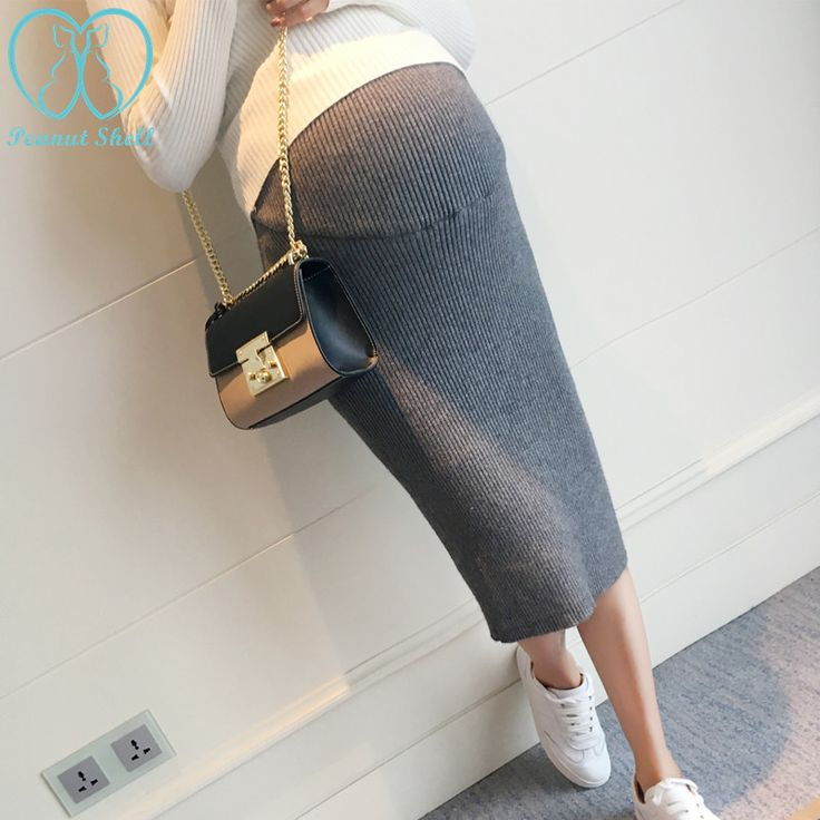 Spring Autumn Fashion Maternity Belly Skirts Woolen Knitted