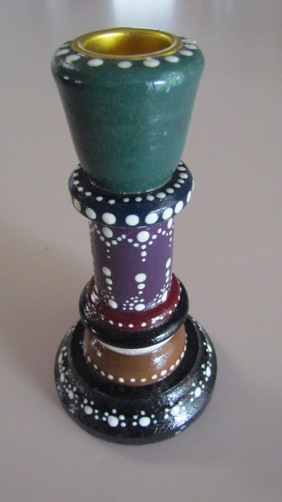 Wood Painted Candlestick Holder-One of a by beadsboxesandbeyond