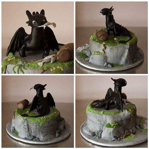Multi Perspective Toothless Cake. I wouldn't be able to eat this. It's too cute!
