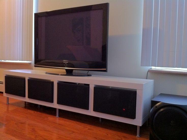 Clean Minimalist TV Stand  IKEA Hackers  Uses speaker