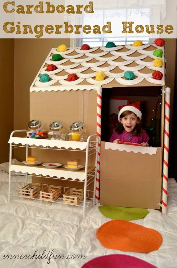 Cardboard gingerbread house--do you get to go inside & eat all the candy??!!