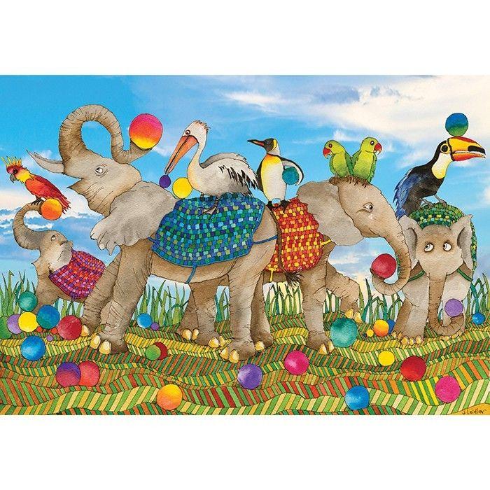 Jenny Laidlaw - 100 Piece Puzzle Juggling Elephants