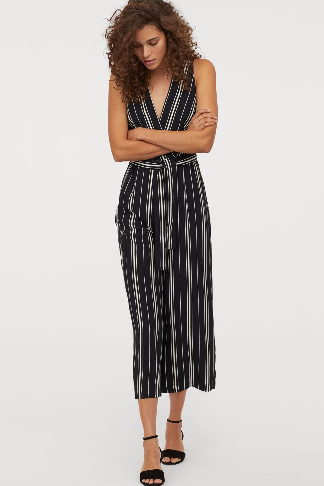 0a1931f865d Jumpsuit with Tie Belt - Black white striped - Ladies