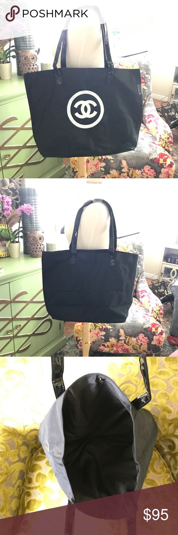SALE‼️ Chanel shopping tote New with original packaging. Gift with purchase item   This is a great bag and sturdy! Perfect for running errands, a overnight bag, pool beach tote, dance bag, you name it!   LabelsinLove.Storenvy.com  Sign up through my page and use code LOVE15 at checkout for 15% off! Must sign up as a new member through my specific page to get the discount 😊💕✌️ CHANEL Makeup
