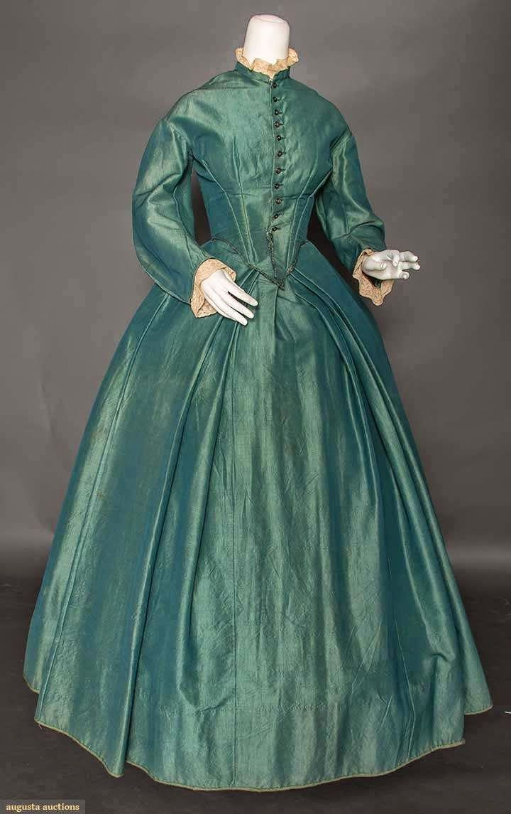 TEAL WOOL DAY DRESS, 1850s | In the Swan's Shadow