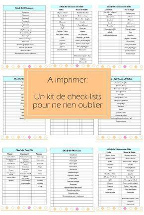 Kit de fiches organisation a imprimer check list