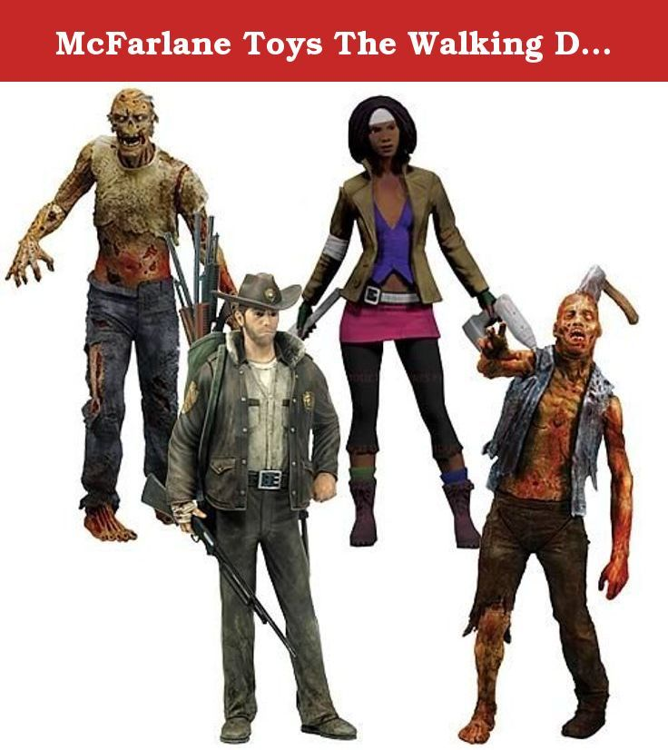 McFarlane Toys The Walking Dead COMIC Series 1 Set of 4 Action Figures Officer Rick Grimes, Michonne, Zombie Roamer Lurker. Set of four Action figures from Images hit comic The Walking Dead. Includes 1 each of Officer Rick Grimes, Michonne, Zombie Lurker & Zombie Roamer.