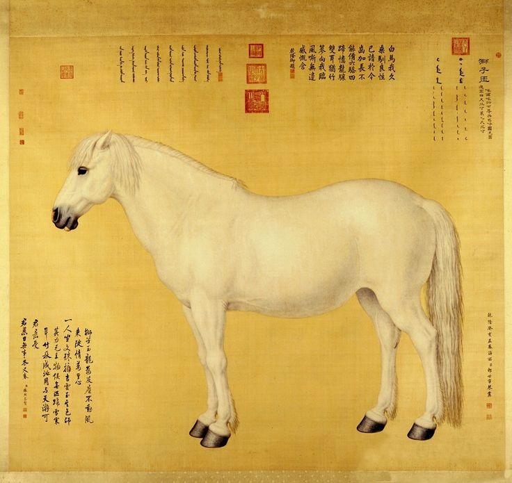 郎世宁以细密的短线,按照素描的画法,来描绘马匹的外形、皮毛的皱褶和皮毛下凸起的血管、筋健,或利用色泽的深浅来表现马匹的凹凸肌肉,与传统中国绘画中的马匹形象迥然有别。图为郎世宁《御马图》。
