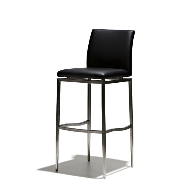 Cosmos - Barstol i fast höjd med sits i konstläder och stomme i borstat stål…