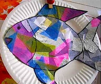 Fine Motor Activity- Glue Tissue Paper to Fish Template