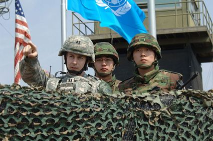 American and South Korean soldiers in the DMZ.