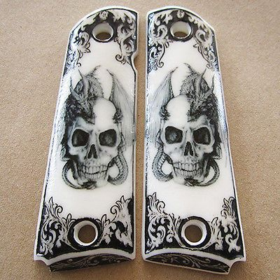 1911 Grips Fit Colt Kimber Clone Dragon and Skull Custom Resin Grip Full Size