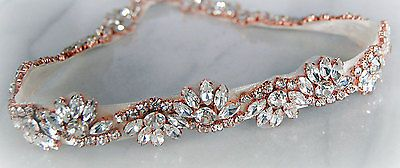 BETHAN Rose Gold Rhinestone Flower Diamante Bridal Sash Wedding Dress Belt