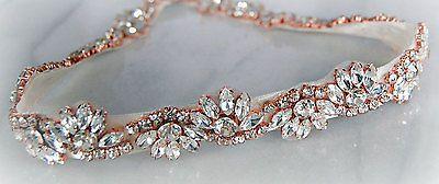 BETHAN Rose Gold Rhinestone Flower Diamante Bridal Sash Wedding Dress Belt